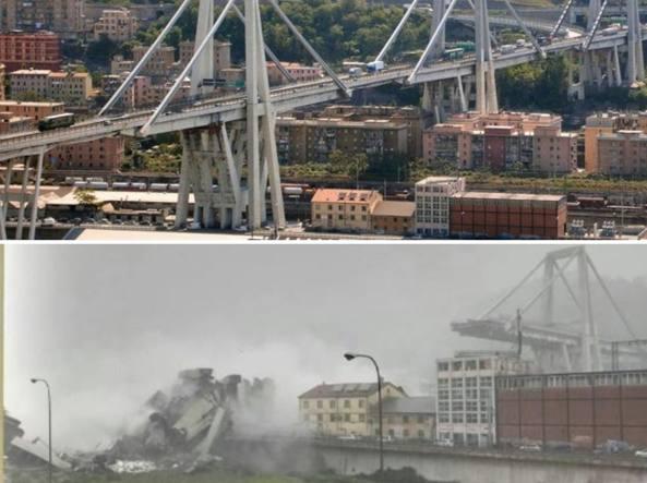 Genova  crollo del ponte Morandi. Era stato inaugurato 51 anni fa ... 5ca2a904b53e
