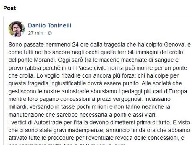 Toninelli e Di Maio: via   vertici Autostrade maxi multe e s