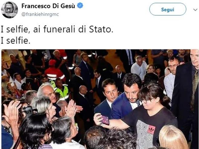 Frankie hi nrg: «Il selfie di Salvini ai funerali una miseri