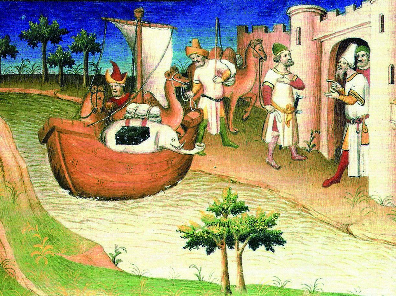 Durante i suoi viaggi Marco Polo (1254-1324) arriva in una città sulla sponda di un fiume. Questa miniatura è tratta da uno dei  codici del «Milione»