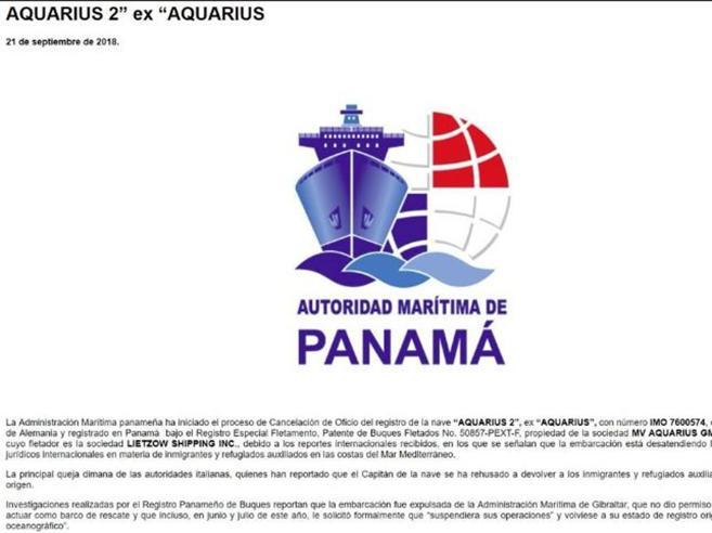 Panama blocca la nave Aquarius. La Ong: «Scelta  per le pre