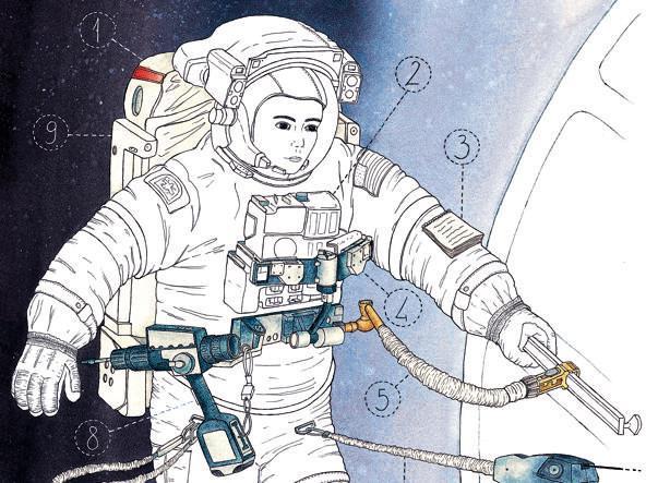 La tuta pressurizzata (disegno di Jessica Lagatta da Diario di un'apprendista astronauta)
