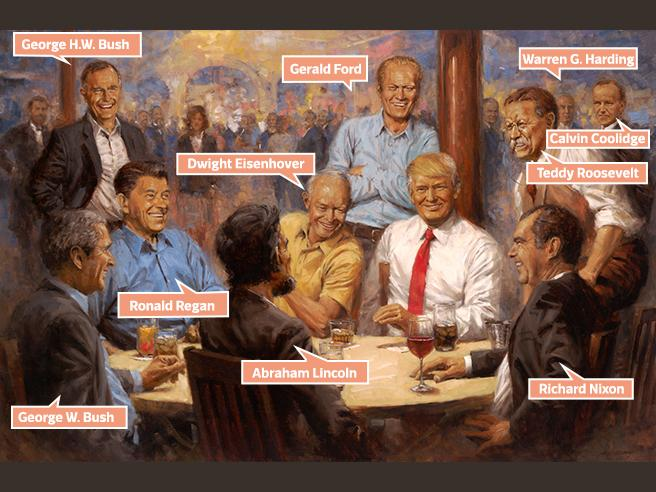 Trump seduto tra Lincoln e Reagan: il (bizzarro) quadro appeso alla Casa Bianca: la foto