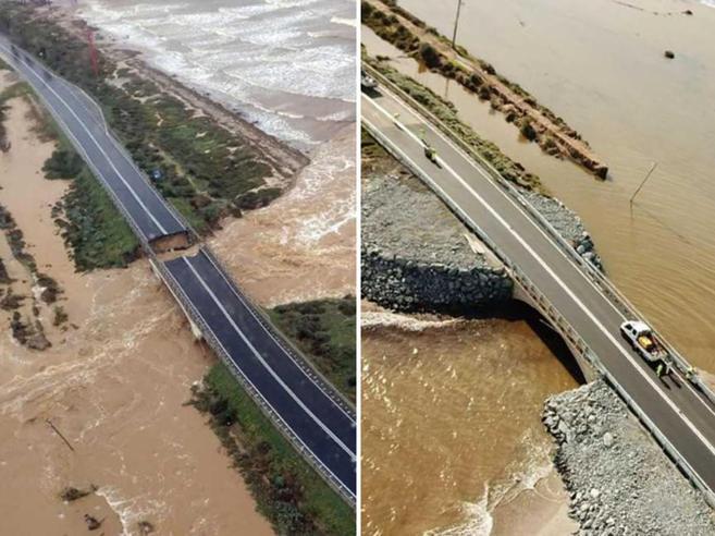 Alluvione nel Sud Sardegna, la strada simbolo già ripristinata