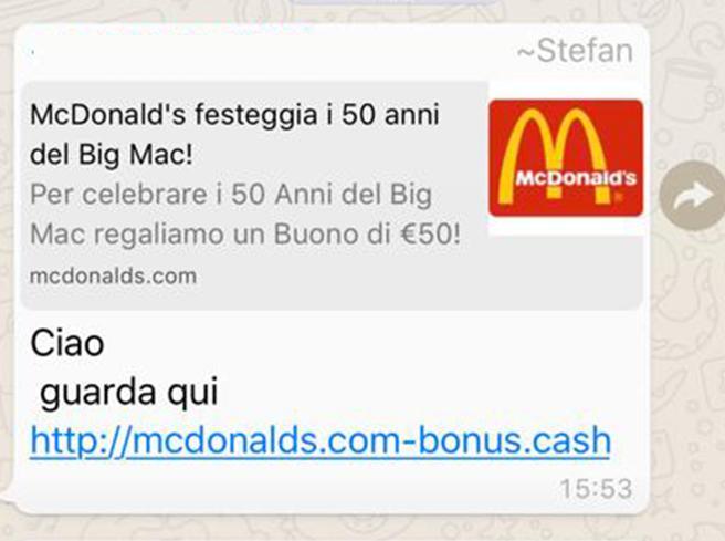 Su WhatsApp una truffa offre di vincere un buono per McDonald's