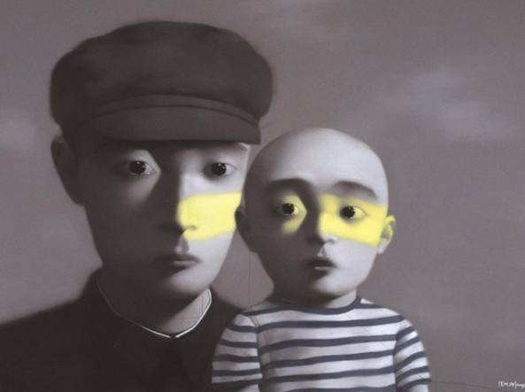 Zhang Xiaogang (1958), «Father and Son / Bloodline Series» (2005, olio su tela, courtesy dell'artista)