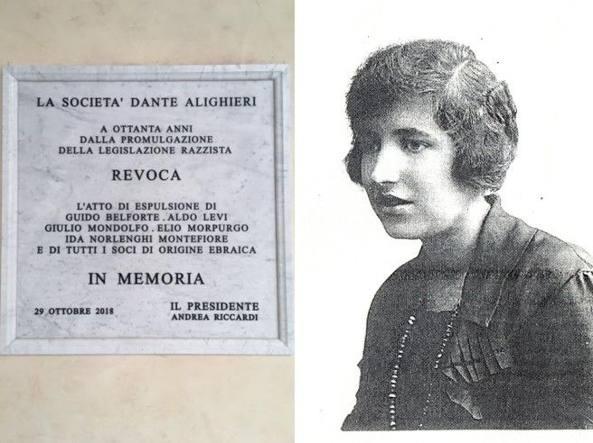 La targa che ricorda l'espulsione di tutti i membri ebrei dalla Dante Alighieri e una foto giovanile di Dora Montani