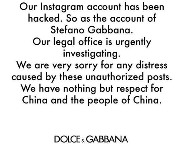 Cina: annullato il mega show di Dolce e Gabbana. «La Cina si sente offesa». Gli stilisti: «Colpa degli hacker»