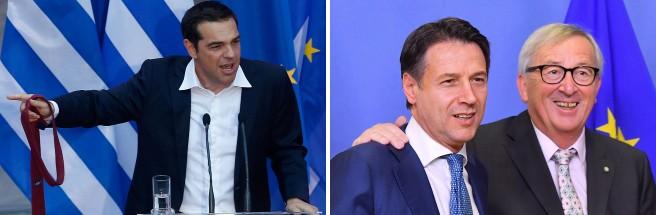 Il premier greto Tsipras e l'incontro tra il presidente del consiglio Conte e  il presidente della Ue Juncker ieri a Bruxelles
