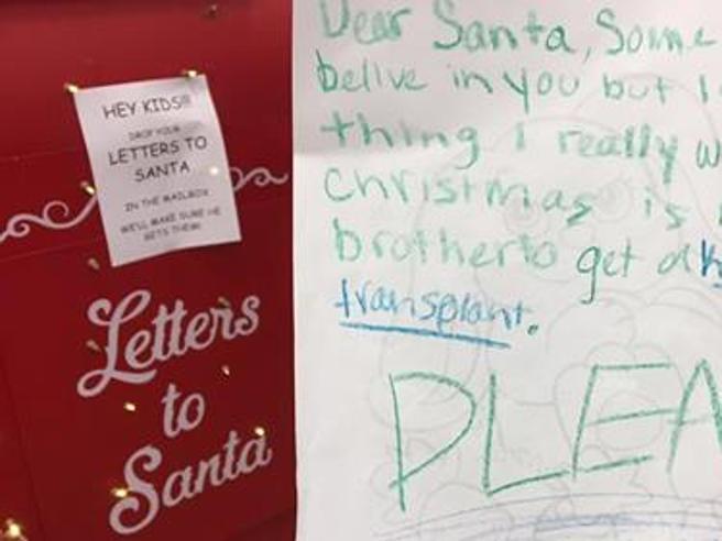 La letterina: «Caro Babbo Natale, vorrei un rene per mio fratello»