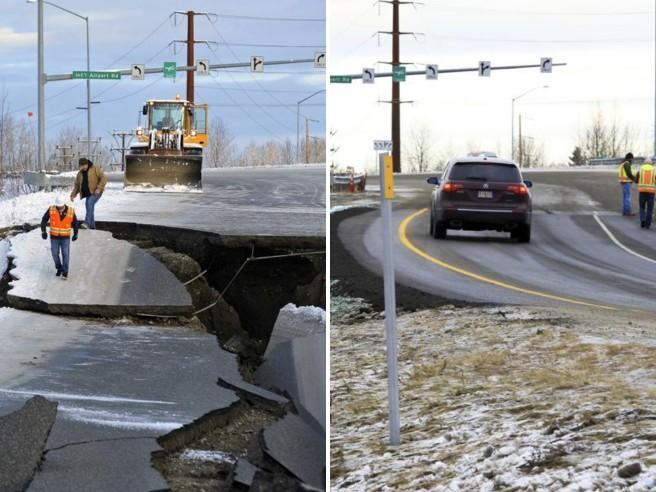 Terremoto in Alaska, strada distrutta e ricostruita in soli quattro giorni Video | Foto