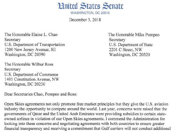 La lettera degli 11 senatori americani