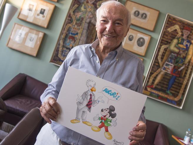 Piero Angela diventa un fumetto e festeggia i 90 dell suo coetaneo: Topolino