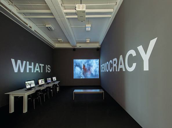Oliver Ressler (Knittelfeld, Austria, 1970), What is Democracy? (2007–2009, video-installazione), National Museum of Contemporary Art / Emst, Atene
