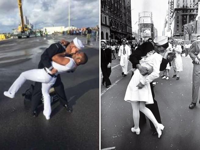 usa, marinaio sbarca e bacia il marito come nella famosa fotografia di times square