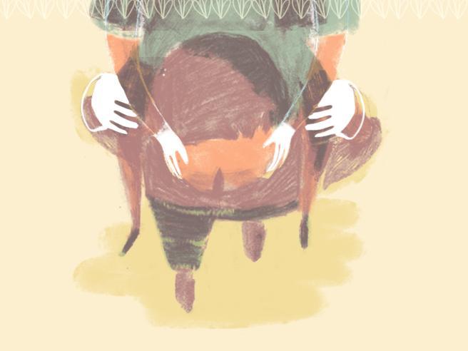 Il mio trono di bimba, sulle spalle di papà