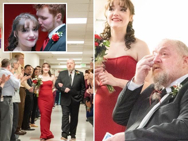 """Il padre è malato, Grace si sposa in ospedale il giorno di San Valentino: """"Volevo averlo accanto"""""""