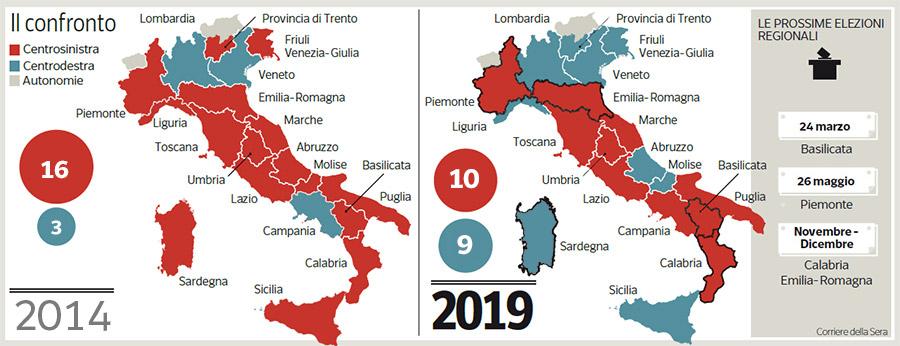 Elezioni Regionali Mappa Delle Regioni Dopo Il Voto In Sardegna