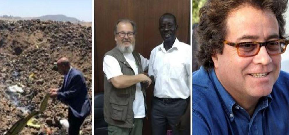 Da sinistra,il ceo Ethiopian Airlines sul luogo del disastro, il presidente di Africa 3000 Carlo Spini, l'assessore siciliano Sebastiano Tusa