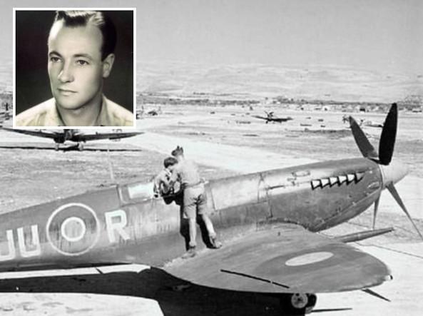 Nel riquadro John Henry Coates. Nella foto grande il suo Spitfire. John potrebbe essere il pilota nell'abitacolo