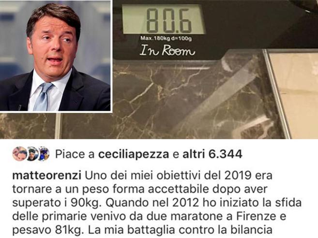 Renzi, battaglia (vinta) con la bilancia: «Persi 10 chili, festeggio con la pasta»