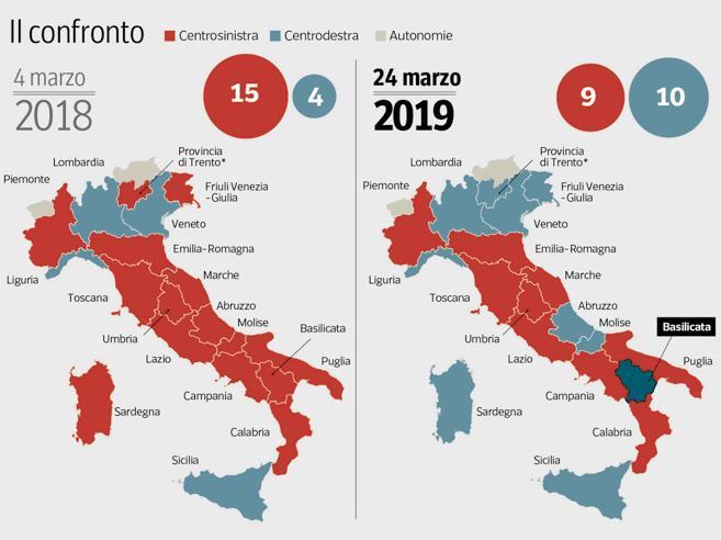 Da rossa ad azzurra, ecco come l'Italia delle Regioni ha ca