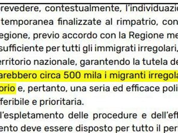 La pagina del contratto di governo Lega-M5S sui clandestini in Italia