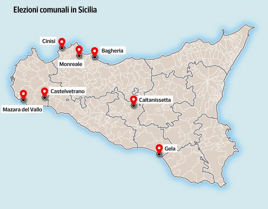 Cartina Sicilia Con Tutti I Comuni.Elezioni Comunali In Sicilia La Mappa Dei Principali Comuni Al Voto Corriere It