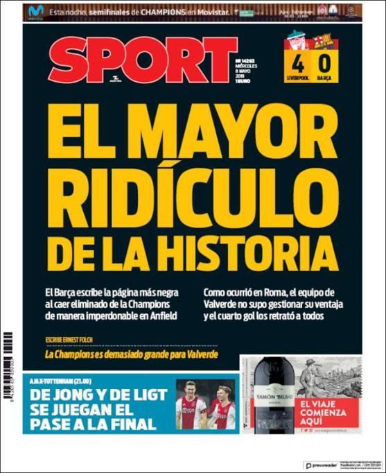 0d9c90d30b16 Liverpool-Barcellona: l'impresa (e la disfatta) sui giornali del ...