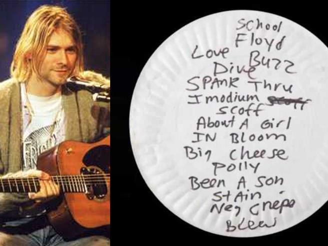 Venduto all'asta per 20 mila euro un piatto di carta usato da Kurt Cobain (con la scaletta del concerto sul retro)