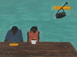 «They were very poor» di Jacob Lawrence (1917-2000); The Phillips Collection, Washington