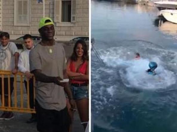 «Se ti tuffi in moto 2 mila euro» E Balotelli perde la scommessa Guarda il video