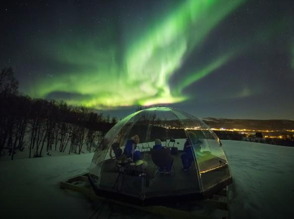Domes from Norwegian Eye at the Aurora Borealis Observatory. Credit Aurora Borealis Observatory