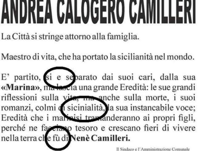 Lutto cittadino per Camilleri ma il manifesto del Comune è p
