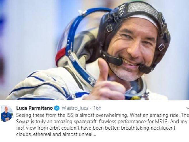 Luca Parmitano, il primo tweet dalla Iss: «Che viaggio incredibile»