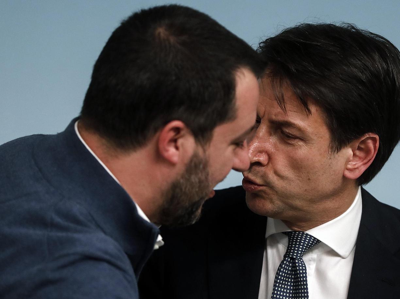 Matteo Salvini e Giuseppe Conte (Ansa)