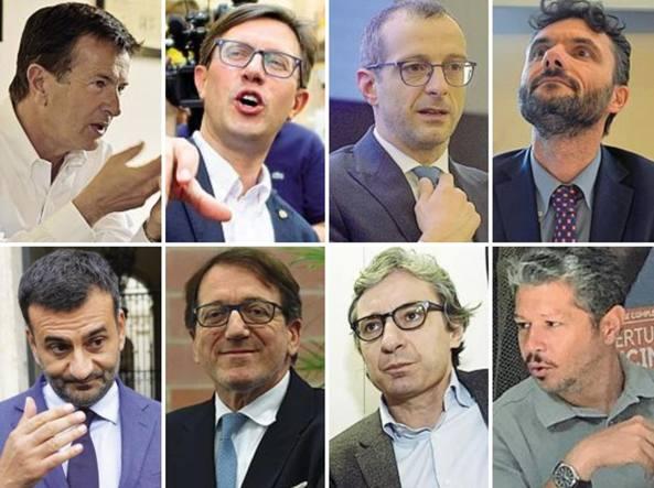 In alto da sinistra: Giorgio Gori, Dario Nardella, Matteo Ricci, Matteo Biffoni. Sotto, da sinistra: Antonio Decaro, Gian Carlo Muzzarelli, Andrea Gnassi e Simone Giglioli
