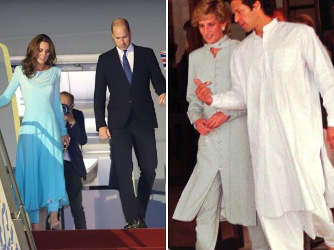 Kate Middleton in Pakistan con un vestito locale (che ricorda quello di Lady Diana)