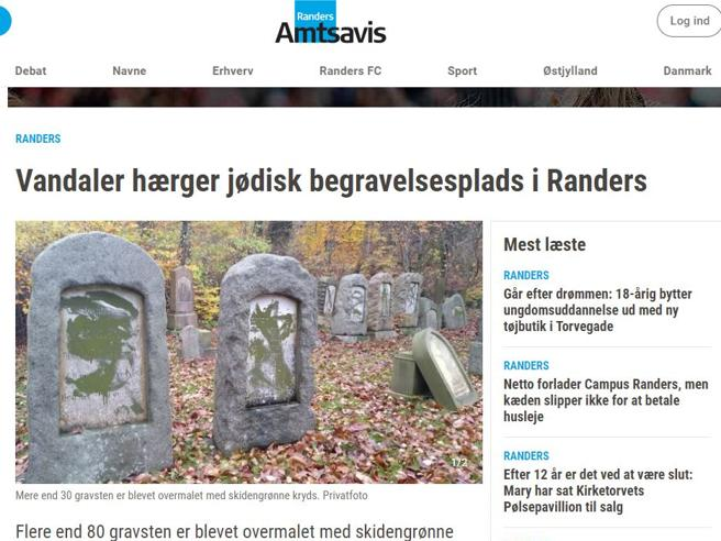 Profanate 80 lapidi del cimitero ebraico di Randers    su una delle tombe la scritta «Jude»