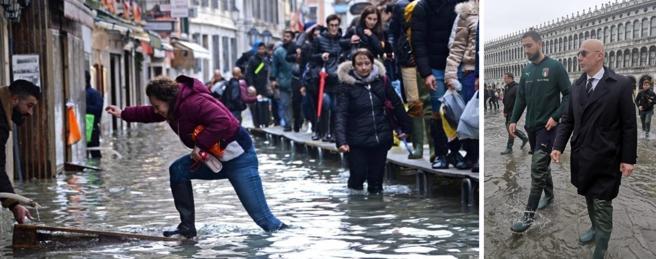 Acqua alta a Venezia. A destra, Gianluca Vialli e Gigio Donnarumma in piazza San Marco