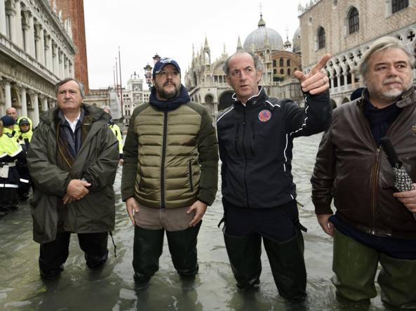 Matteo Salvini a Venezia con il sindaco Luigi Brugnaro e il governatore Luca Zaia