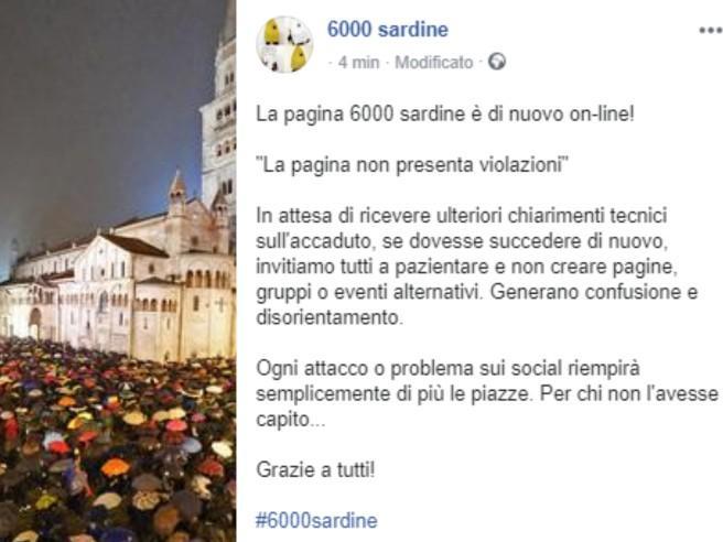 """Cosa è successo alla pagina Facebook delle """"Sardine"""", oscurata e poi ripristinata"""