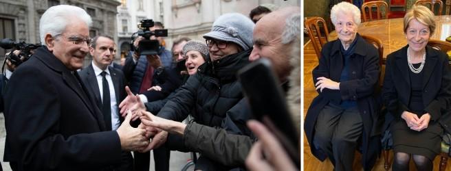 Mattarella a Milano e , a destra, l'incontro tra le vedove  Pinelli e  Calabresi (foto pubblicata su Twitter da Mario Calabresi)