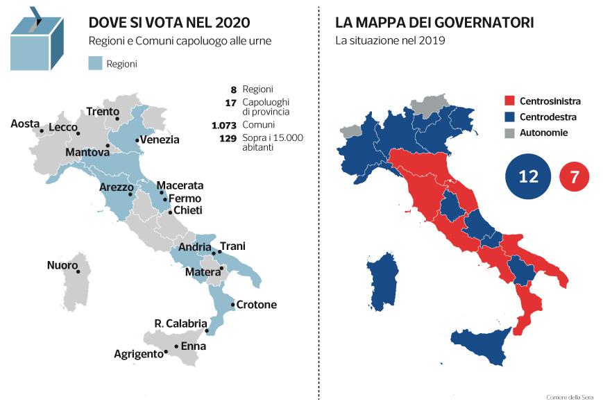 Cartina Politica Italia Con Capoluoghi Di Regione.2020 Anno Ad Alta Tensione Si Vota In 8 Regioni E 1 073 Comuni Tutti I Possibili Inciampi Per Il Governo M5s Pd Corriere It