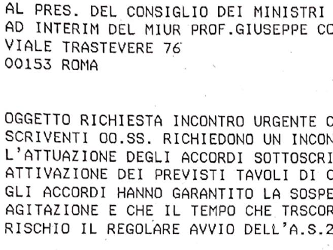 Scuola, i sindacati scrivono un telegramma al «ministro» Conte: «Non possiamo aspettare i tempi della politica»