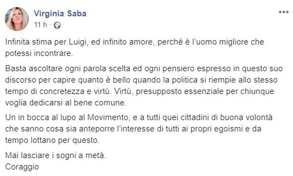 Il messaggio su Facebook di Virginia Saba