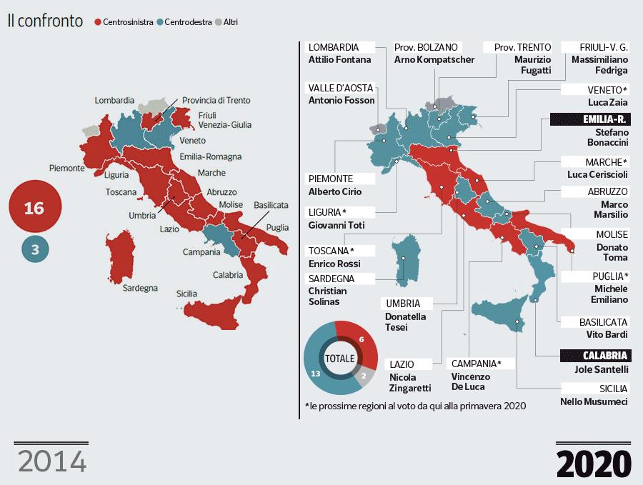 Regione Calabria Cartina Politica.Pd E Lega La Mappa Delle Regioni Dopo Il Voto In Emila Romagna E Calabria Corriere It
