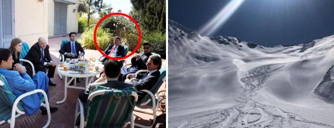 Renzi con Imran Khan,  Aznar, Federico Rigoni e la principessa Beatrice. A destra la foto twittata dall'Himalaya