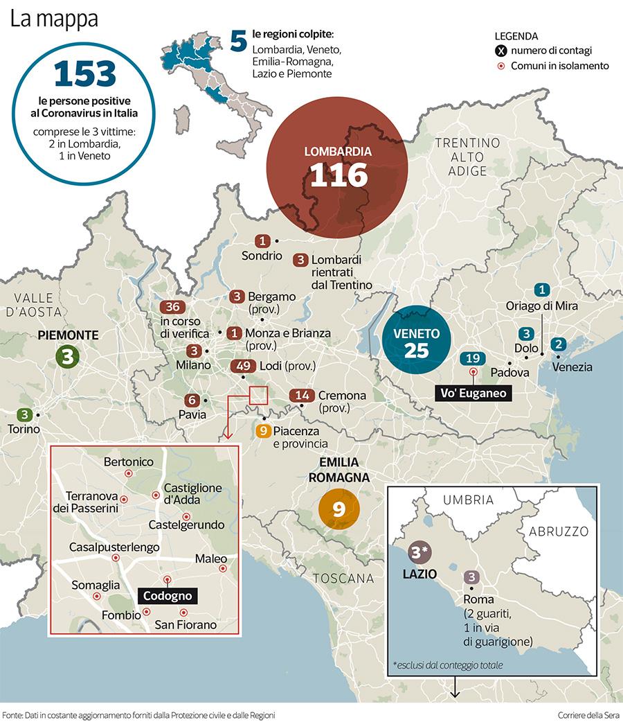 Cartina Lombardia E Piemonte.Coronavirus In Italia Casi Raddoppiati In 24 Ore Siamo I Terzi Al Mondo Corriere It