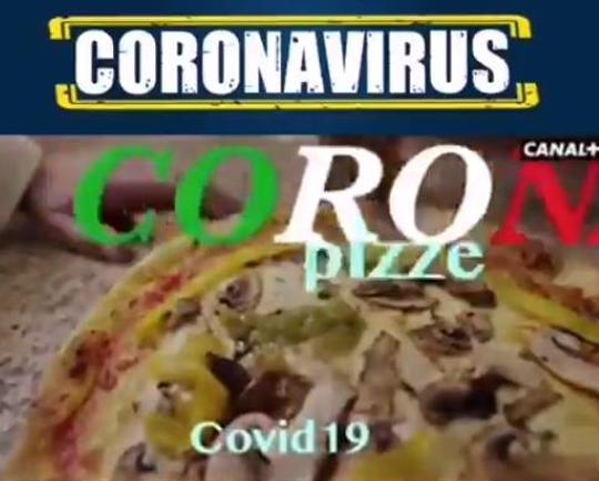 coronavirus, scivolone di canal plus con video satirico della pizza covid-19. -video-